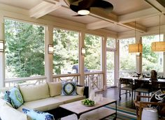 decks/patios - screened-in porch, dining area, pendants, sectional, sconces, coffered ceiling, outdoor space, trina turk pillows. enclosed patio.
