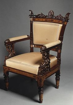 Designed by Filippo Pelagio Palagi | Pair of armchairs (part of a set) | Italian, Piedmont | The Met