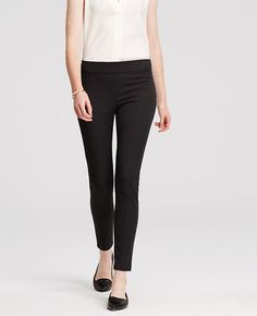 """Amazingly travel friendly, these perfect-fit stretch leggings are cut to flatter with an incomparably slim silhouette. Elasticized waistband. Hidden side zipper with hook-and-eye closure. Back welt pockets. 27"""" inseam."""