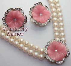Kenneth J Lane KJL Avon Perfect Pansy Necklace Earrings Pink Rhinestone Lucite Demi Parure, Vintage Designer Wedding Bride Fashion Jewelry