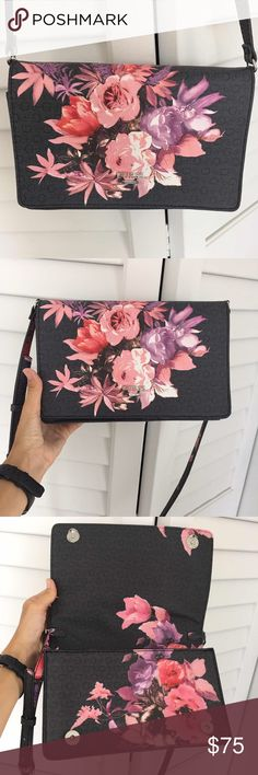 GUESS AUTHENTIC NEW CROSS SHOULDERS BAG CLUTCH Brand new, never worn! But without tags, was not planning to sell until I got similar bag and this one decided to sell :( THE BAG IS BEAUTIFUL! In GUCCI STYLE Flowers pattern! Guess Bags Shoulder Bags