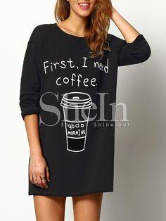 Чёрный длинный джемпер с принтом Coffee