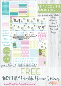 FREE Cactus Theme You Do You monthly planner stickers: Download your free planner printable. These free kits will fit just about any planner. See more at www.pinkpixelgraphics.com