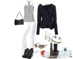White pants, cute grey tank, black blazer