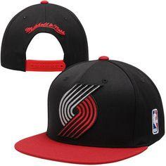 Mitchell   Ness Portland Trail Blazers XL Logo 2-Tone Snapback Adjustable  Hat - Black Red 69642e8038bf