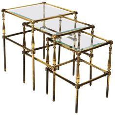 Set of three polished brass nesting tables with glass tabletop and ring-and-vase shaped legs, circa century. Vase Shapes, Side Table, Table, Nesting Tables, Brass Side Table, Glass, Mid Century Modern Side Table, Beveled Glass, Modern Side Table