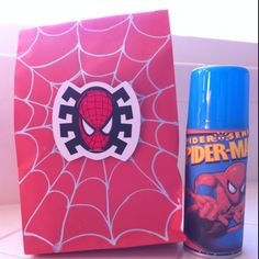 Spiderman party favor bag and personalized spider web sprayer (silly string).