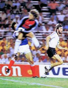 France 3 West Germany 3 (4-5 p) in 1982 in Seville. On 60 minutes Harald Schumacher rushed out and smashed into Patrick Battiston, smashing teeth and ribs, the keeper wasn't even booked in the World Cup Semi Final.