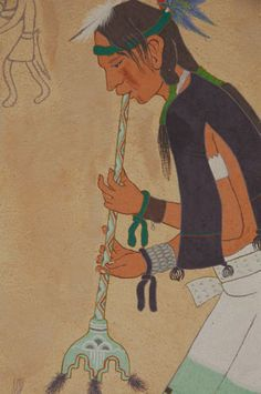 Pueblo Flute Player by Theodore Suina (Ku-Pe-Ru, Snow Beads). He was born on February 1918 at Cochiti Pueblo, New Mexico where he continues to live. Pueblo Indians, Native American Paintings, Textured Background, Flute, Overlays, Nativity, Original Paintings, February, Disney Characters
