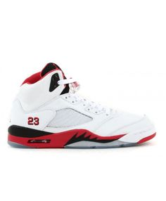 sale retailer c7edb b51bd Air Jordan 5 Retro White Fire Red Black 136027 162