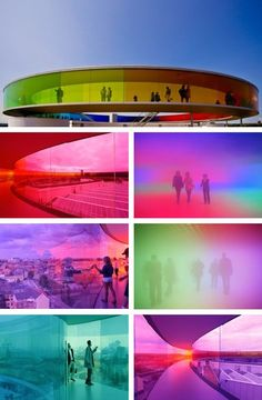 """Your Rainbow Panorama"" art instillation at the ARoS Art Museum, in Aarhus, Denmark. A rainbow colored glass circular walkway, atop the museum, created by Danish-Icelandic artist: Olafur Eliasson. ~ {cwlyons}"