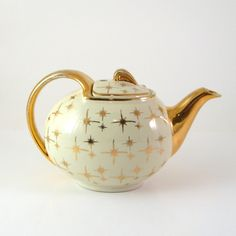 Vintage Hall China Teapot Eva Zeisel Gold Label by WoolTrousers, $21.00