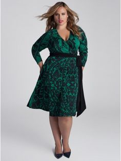 Neve Plus Size Wrap Dress in Jade &122.00  Love, love, love this one - pattern and color.  Very memorable.