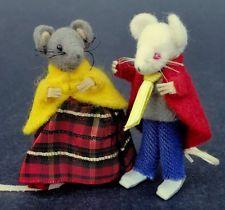 "Dollhouse Miniature Mouse Couple Germany Felt Dressed Man Woman Tiny 2"" Vtg Cute"