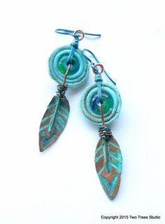 Serenity/Strength:  Elegantly rustic Boho earrings by Two Trees Studio.