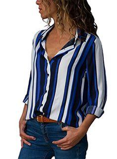 bd81dfefb6d8a9 HUUSA Womens Button Up Blouses V Neck Color Block Stripes Work Casual Long  Sleeve Shirt Tops