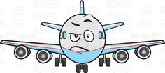 Angered Look On Jumbo Jet Plane Emoji | Stock Cartoon Graphics ...