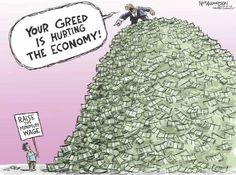 """""""The test of our progress is not whether we add more to the abundance of those who have much; it is whether we provide enough for those who have too little."""" Franklin D. Roosevelt cartoon Nick Anderson  """""""