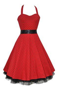 f278cb372cf9 Ladies 40 s 50 s Red Polka Dot Halterneck Jive Swing Rockabily Dress New 8  - 26