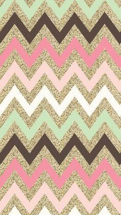 Pretty girly phone wallpaper, gold glitter chevron with pink, white, mint green and brown chevron lines also for iphone