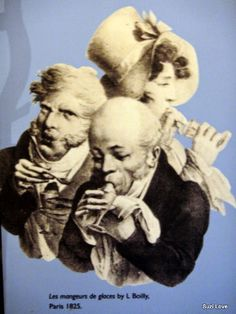 1825 Eating Glaces In Paris. Poster at the Canal Museum, London. suzilove.com