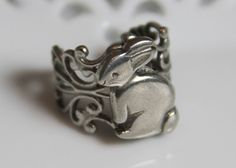 A rabbit ring? Why yes please! - Rabbit Ring ...Vintage Button Ring ...Bunny Rabbit Pewter Button, Adjustable Ring, Peter Rabbit inspired