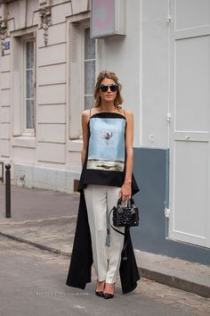 Helena Bordon wearing a Dior total look before Dior Haute Couture fashion show on July 7, 2014 in Paris, France.