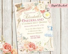 Alice in Onederland Invitation, Wonderland Invitation, 1st Birthday Invitation, Printable Invite, Alice Party Invite, 1st, Girls, Floral ★★ WHAT YOU WILL RECEIVE ★★ 1 5x7 Digital JPG OR PDF invitation ready for printing within the selected time frame ★★ DETAILS ★★ # Name #