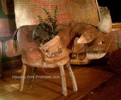 Primitive Folk Art Billy Goat Shelf Sitter with by MeadowForkPrims