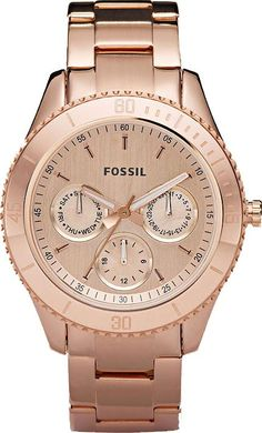 Fossil Womens Stella Chronograph Stainless Watch - Rose Gold Bracelet - Gold Dial - ES2859