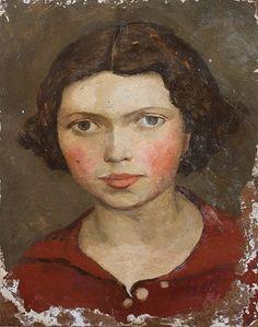 William Scott, [Portrait of Mary], 1934, Oil on board, 29.2 × 23.3 cm / 11½ × 9¼ in