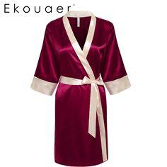 Ekouaer Mariée Demoiselle D'honneur Robe de Nuit Sexy Satin Dentelle robe de Nuit Robes De Mode Femmes Peignoir Robe de Chambre avec Ceinture