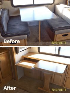 Removed dinette from motorhome and added custom built table and desks | RVs, campers, travel trailers, and motorhomes without the dining booth