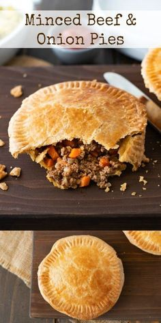 Minced Beef and Onion Pies Minced Beef and Onion Pies are a satisfying and comforting meal when served with mushy peas and mashed potato. If you're familiar with British cuisine, you'll know we like our savory meat pies. Minced Beef Pie, Minced Beef Recipes, Mince Recipes, Cooking Recipes, Minced Onion, Mince Pies Recipe, Curry Recipes, Beef Pies, Meals With Mince Beef