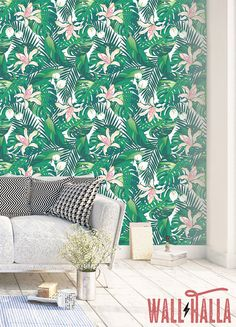 Tropical Green Leaves Wallpaper Removable Monstera And Palm Leaf Fl Print L Stick