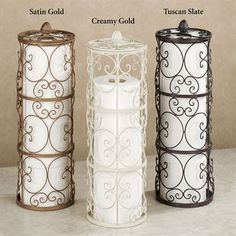 Grace your bathroom with the traditional styling of the handpainted Aldabella Toilet Paper Storage. Each handcrafted, wrought iron toilet paper holder helps keep things neat and tidy, while enhancing your decor with elegant, openwork scroll designs. Toilet Paper Stand, Toilet Paper Storage, Toilet Paper Roll Crafts, Ideas Baños, Origami Tattoo, Italian Home Decor, Home Detox, Wrought Iron Decor, Iron Furniture
