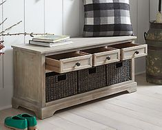 Oslember Storage Bench | Ashley Furniture HomeStore Bench With Shoe Storage, Wood Storage, Storage Shelves, Storage Spaces, Fast Furniture, Metal Drawers, At Home Store, Engineered Wood, Home Accessories