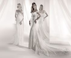 LXAB19004 - Nicole Luxury 2019 Collection Elegant ivory mermaid dress in Chantilly lace and beaded rebrode lace bands. Perfect for being a real diva! Chantilly Lace, Bridal Dresses, One Shoulder Wedding Dress, Diva, Mermaid, Bride, Luxury, Collection, Design