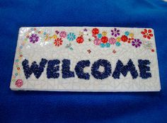 CyberMonday Use coupon code SPSTCYBER2013 for 13% off everything at ZZBob's, through Dec !! Mosaic Welcome Sign with Flowers Butterflies Dragonfly by zzbob,