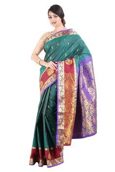 This lovely dark green saree with border made of Zari work is one of the finest handwoven pure silk sarees and it is currently offered at flat 40% OFF at silkshari.com as their launch offer. Please make use of this. .