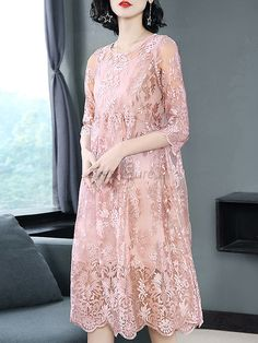 Buy Elegant Pure Color Embroidery O-Neck Half Sleeve Mesh Two Piece Shift Dress with High Quality an Dress Brukat, Kebaya Dress, Dress Pesta, Dress Outfits, Lace Dress, Fashion Dresses, Lace Maxi, Trendy Dresses, Simple Dresses