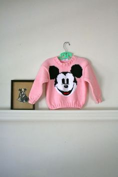 vintage girl's novelty sweater  MICKEY MOUSE hand knit by MsTips, $22.00