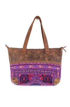 Leather Tote Handbag with Purple Vintage by OffbeatCuts on Etsy