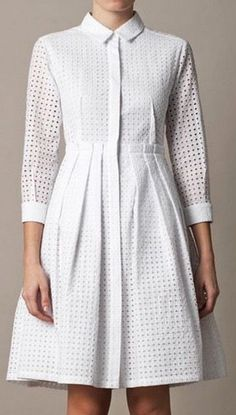 Freda Broderie anglaise dress for women Cinched at the waist with a full pleated skirt, this pretty piece creates the ultimate feminine silhouette . Trendy Dresses, Women's Dresses, Elegant Dresses, Cute Dresses, Dress Outfits, Short Dresses, Summer Dresses, Church Dresses, Modest Fashion