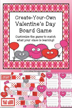 Need a template to create your own Valentine's Day-themed board game? This set has a fun game board and blank game cards ready to be customized.