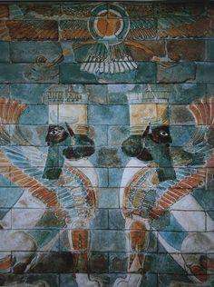 Mural from the Palace of Ishtar in Iran. Original colours tell the truth.