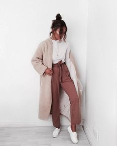 wool nude beige cream long coat + dark blush pink high-waisted straight pants + white slip-ons canvas shoes + scalloped neckline long sleeved shirt