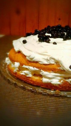 Soft Cake with Cream Cheese Frosting and Fresh Fruits