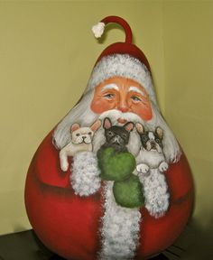 Original Hand Painted Santa and three French Bulldogs Gourd