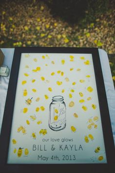 """Out guest book. Firefly """"Our love glows"""" thumbprint poster. Found on Etsy shop Blue de toi. #vintage #wedding #diy"""